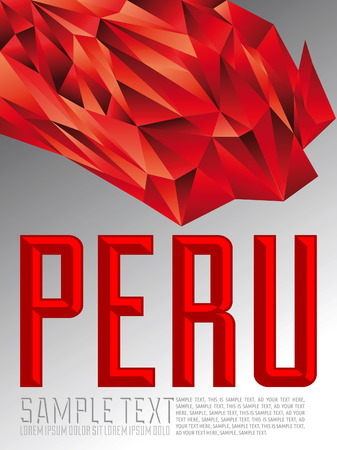 Peru - Vector geometric background - modern flag concept - Peruvian colors Vector
