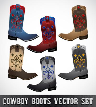 botas vaqueras: Colección Cowboy Boots - ilustración detallada - conjunto de vectores - eps 10