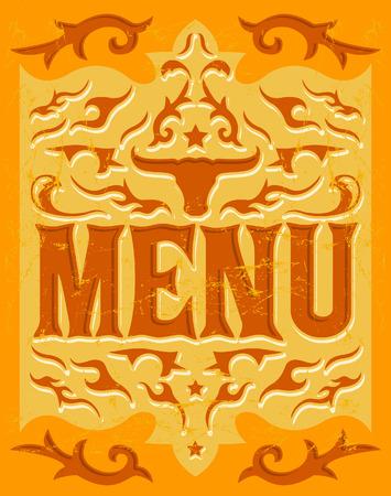 Vector grill - steak - restaurant menu design - western style Vector