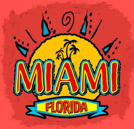Miami - Florida - vector badge - emblem - summer tropical - heat print