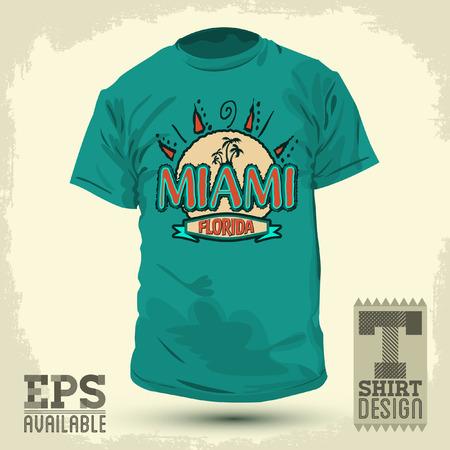 Graphic T- shirt design - Miami Florida -  shirt print