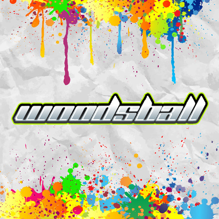 paintball: Woodsball - is a format of paintball gaming, icon, colorful paint banner Illustration