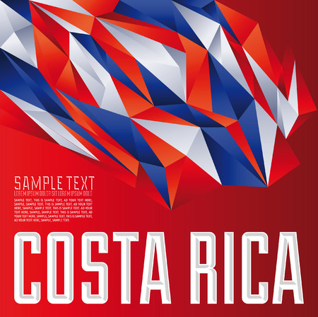 rica: Costa Rica - Vector geometric background - modern flag concept - Costa Rica colors