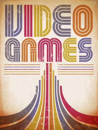 Video Games - vintage poster, card - eighties video games style photo