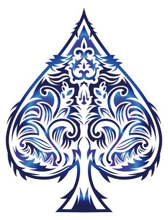 hold em: Rasterized Tribal style design - spade ace poker playing cards, illustration Stock Photo