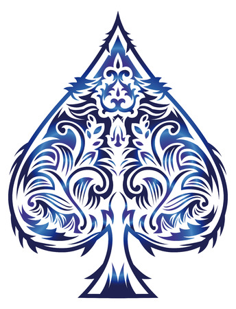 Rasterized Tribal style design - spade ace poker playing cards, illustration