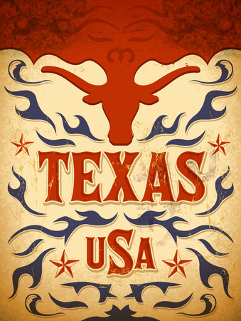 country: Texas Vintage poster - Card - western - cowboy style