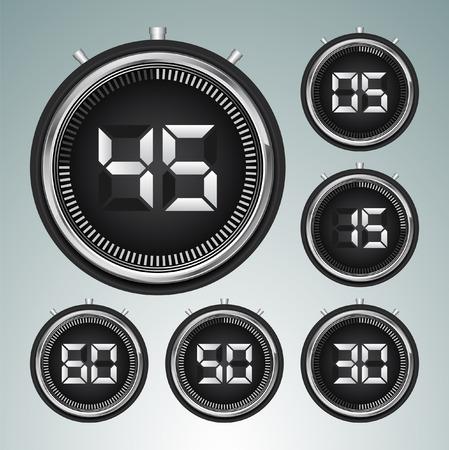 digital: Modern digital timer - stopwatch set