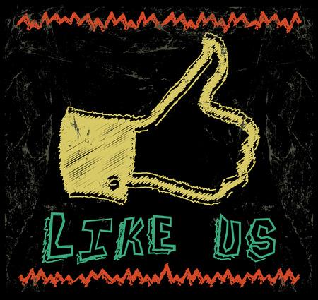 dessin craie: Thumbs Up dessin couleur de la craie