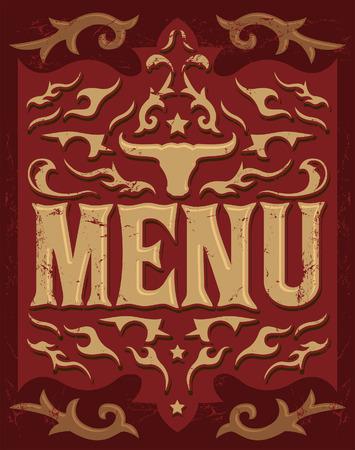 tex: Tex Mex vector Restaurant menu design - western style Illustration