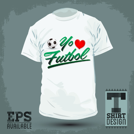 t shirt print: Graphic T- shirt design - Yo amo el Futbol - I Love Soccer - Football spanish text - Vector illustration - shirt print