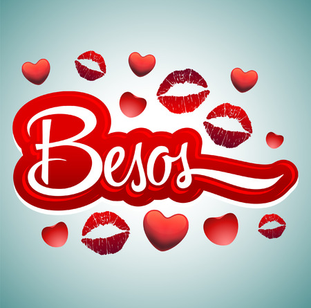 Besos - Kisses spanish text - sexy red lips icon Vector