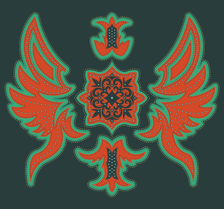 mistery: Abstract Luxurious tribal design  t-shirt graphic design with stitches and rivets - vector illustration
