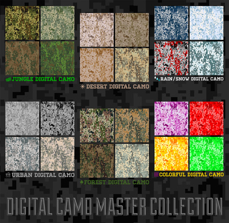 Seamless vector digital Pixel Camouflage collection - Urban, Desert, Jungle, Snow camo set