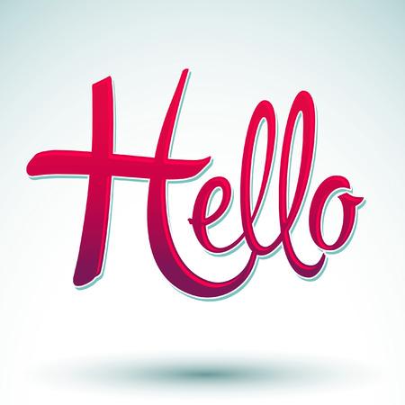 Hello vector icon - emblem - vector lettering Vector