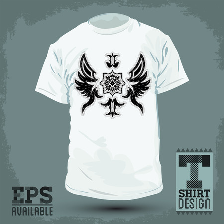 t shirt design: Graphic T- shirt design - Abstract Luxurious heraldic design - shirt graphic design with stitches and rivets - vector illustration  Illustration