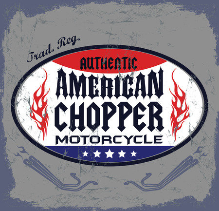 t shirt print: American Chopper Motorcycle badge - icon - emblem, t - shirt print design Illustration