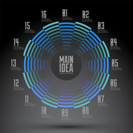 Circular numbered geometrical design, Diagram - busines presentation ready for your text