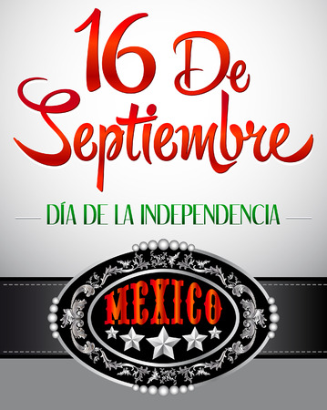 16 de Septiembre, dia de independencia de Mexico - September 16 Mexican independence day spanish text card - poster Vector