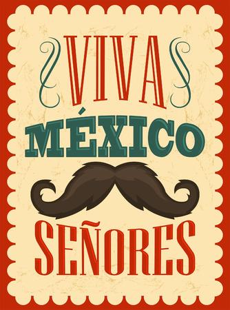kutlamalar: Viva Meksika Senores - Viva Meksika beyler ispanyolca metin, meksika tatil vektör dekorasyon. Çizim