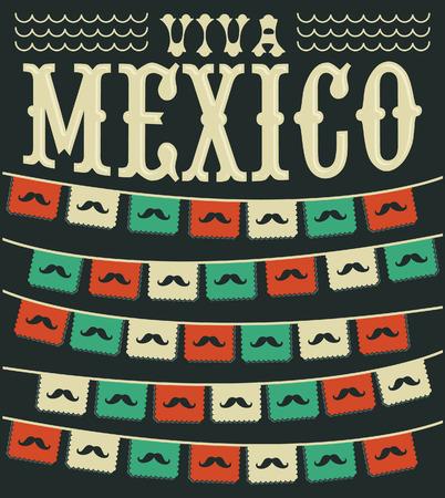 holiday: Viva Mexico - mexican mustache holiday vector decoration