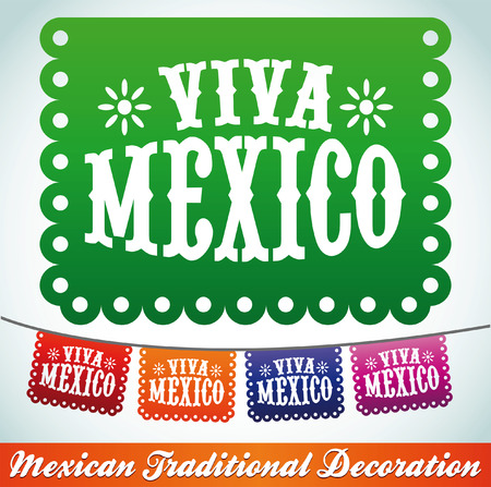 mexico: Viva Mexico - mexican holiday decoration Illustration