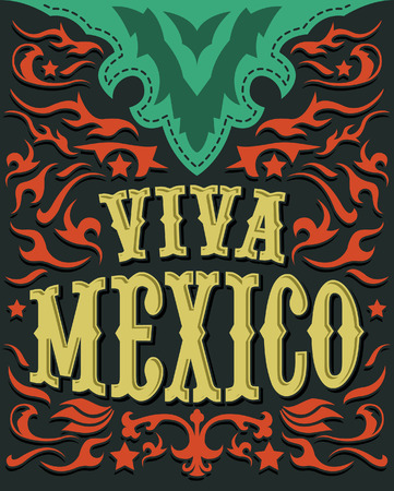 Viva Mexico - mexican holiday poster - western style Vector