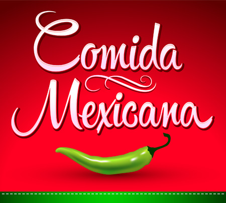 burrito: Comida Mexicana - mexican food spanish text - jalapeno pepper