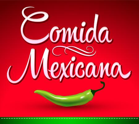 Comida Mexicana - comida mexicana texto español - chile jalapeño Foto de archivo - 31105831