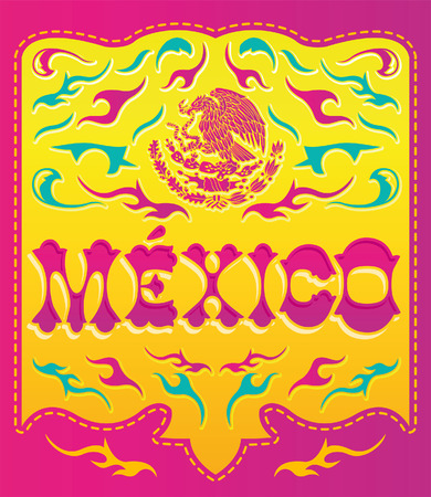 Colorful Mexico sign - mexican poster - card - invitation