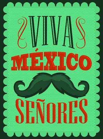 tex mex: Viva Mexico Senores - Viva Mexico gentlemen spanish text, mexican holiday decoration.