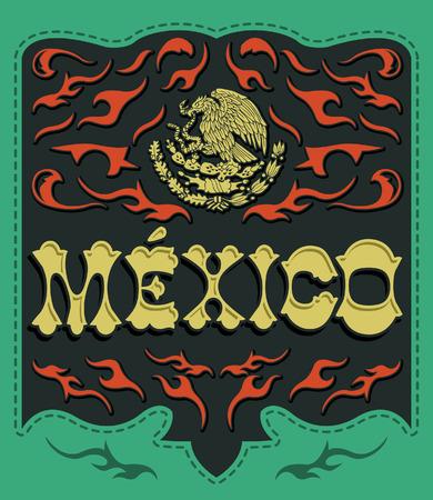 mexican flag: Messico Tradizionale segno - manifesto messicano - card - invito - i colori della bandiera messicana Vettoriali