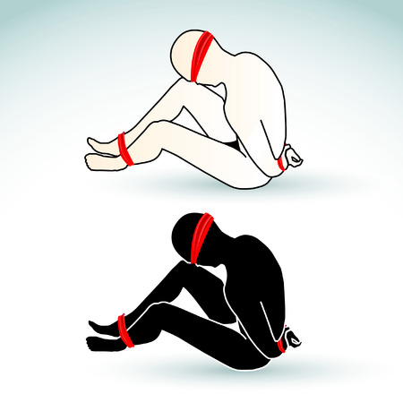 hostage: Illustration of a man tied-up, blindfolded and muted - hostage Illustration