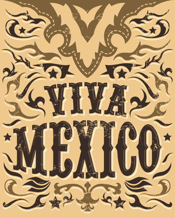 western border: Vintage Viva Mexico sign - mexican holiday poster - western style