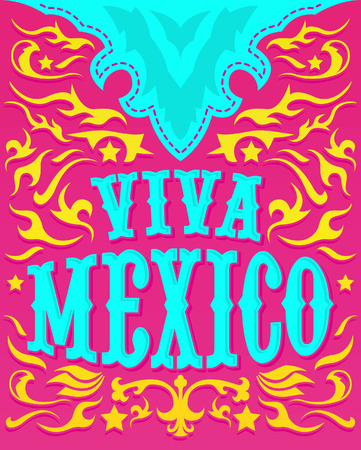 latin americans: Viva Mexico - Colorful mexican holiday poster - western style
