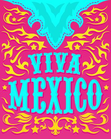 Viva Mexico - Kleurrijke mexicaanse vakantie poster - westerse stijl