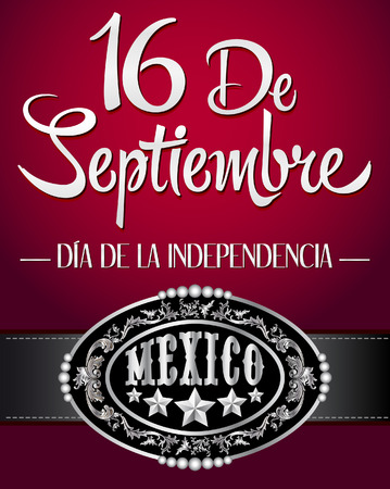 mexican party: 16 de Septiembre, dia de independencia de Mexico - September 16 Mexican independence day spanish text - cowboy poster