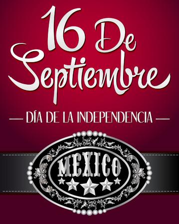 16 de Septiembre, dia de independencia de Mexico - September 16 Mexican independence day spanish text - cowboy poster