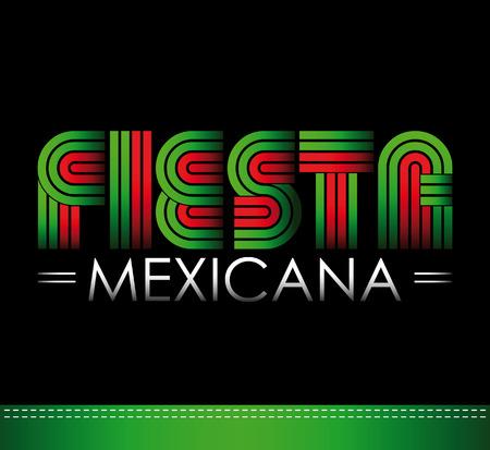 drapeau mexicain: Fiesta Mexicana - partie mexicaine texte espagnol Illustration