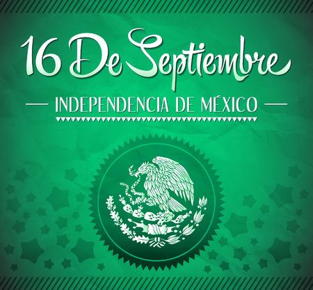 16 de Septiembre, dia de independencia de Mexico - September 16 Mexican independence day spanish text vector card