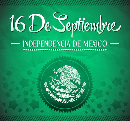 16 de Septiembre, dia de independencia de Mexico - September 16 Mexican independence day spanish text vector card