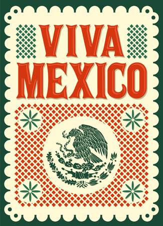 president of mexico: Vintage Viva Mexico - mexican holiday Illustration