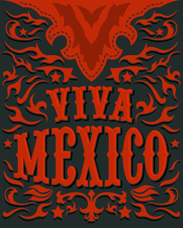 holiday: Viva Mexico - mexican holiday poster - western style