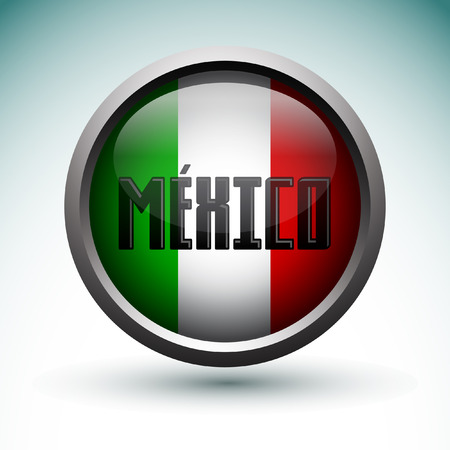 bandera mexicana: Modern Mexico icono - emblema, botón con la bandera de México Vectores
