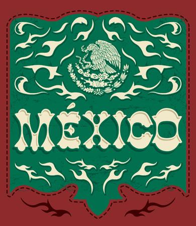 drapeau mexicain: Signe traditionnel Mexique - affiche mexicain - carte - invitation - les couleurs du drapeau mexicain