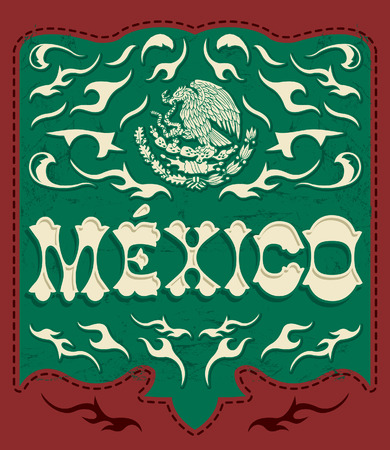 mexican flag: Traditional Mexico sign - mexican poster - card - invitation - Mexican flag colors