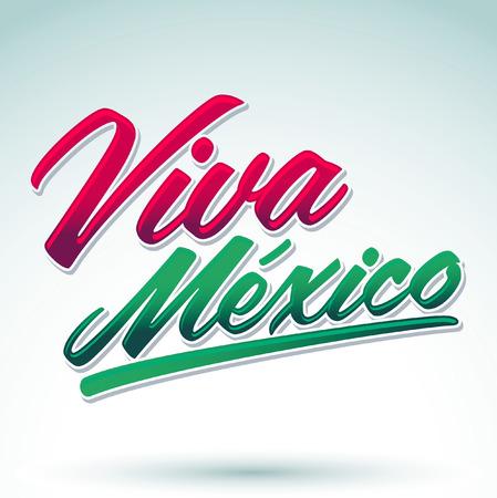 Viva Mexico -lettering, pictogram - embleem, mexicaanse vakantie vector decoratie Stock Illustratie