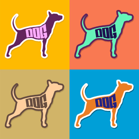 Dog text inside a dog silhouette - Vector Collection - set Vector