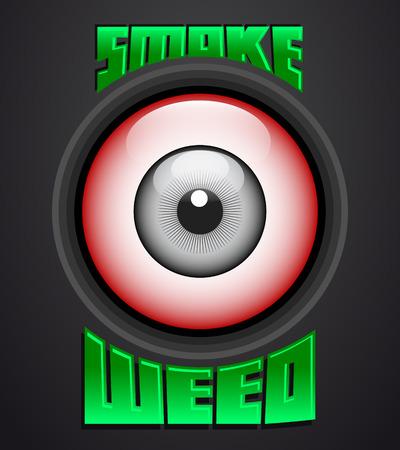 hashish: Smoke weed, red eye icon - emblem - weed is another name for marijuana