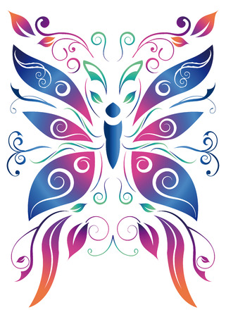 abstract floral butterfly illustration
